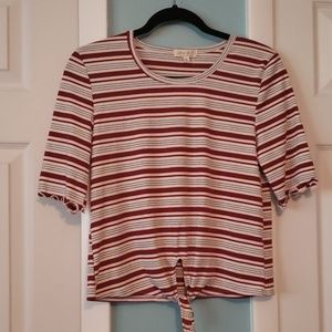 NWT Ultra Flirt Striped Crop Top XL
